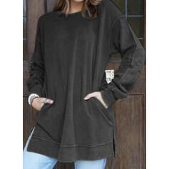 Solid Pockets Round Neck Long Sleeves Sweatshirt