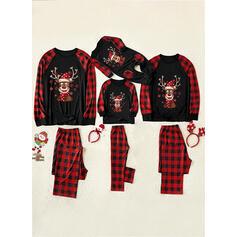 Deer Plaid Floral Family Matching Christmas Pajamas