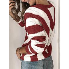 Цветной блок V шеи Длинные рукова Повседневная Вязание Блузы