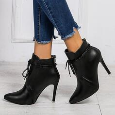 PU Stilettklack Boots Klackar Spetsad tå med Bandage Solid färg skor