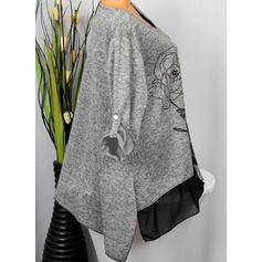 Potisk Květiny Kulatý Výstřih Dlouhé rukávy Neformální Bluze