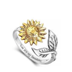 Flores Liga com Padrão floral Mulheres Anéis