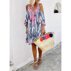 Lace/Tie Dye 3/4 Sleeves/Cold Shoulder Sleeve Shift Knee Length Casual/Vacation Dresses