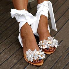 Femmes PU Talon plat Sandales À bout ouvert avec Perle d'imitation chaussures