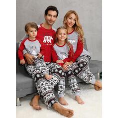 Bjørn Letter Print Familie matchende Jule Pyjamas