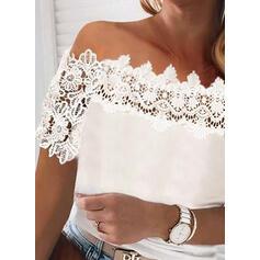 твердый кружевной С плеча С коротким рукавом элегантный Блузы