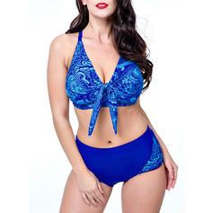 Enfärgad Underwire Tryck Grimma V-ringning Sexig bikini Badkläder