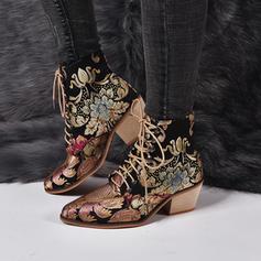 Donna PU Tacco spesso Stivali con Applicazione Fiocco in raso scarpe