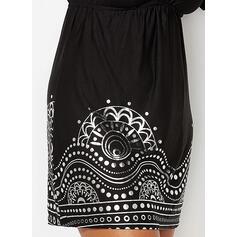 Nadrukowana Krótkie rękawy W kształcie litery A Nad kolana Casual/Wakacyjna Łyżwiaż Sukienki