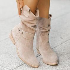 Mulheres Camurça Salto robusto Botas com Fivela Zíper Cor sólida sapatos