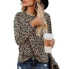 Leopardo Gola Redonda Manga Comprida Casual Camisetas