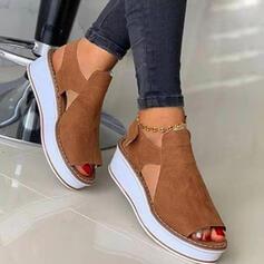 Dla kobiet Zamsz Obcas Koturnowy Sandały Platforma Koturny Otwarty Nosek Buta Obcasy Z Tkanina Wypalana Rzep obuwie
