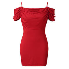 Solid Short Sleeves/Cold Shoulder Sleeve Bodycon Above Knee Sexy/Party Dresses
