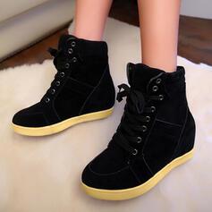 Vrouwen Kunstleer Flat Heel Enkel Laarzen Ronde neus met Vastrijgen Effen kleur schoenen