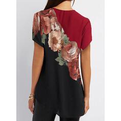 Print Floral V-Neck Short Sleeves Casual Shirt Blouses