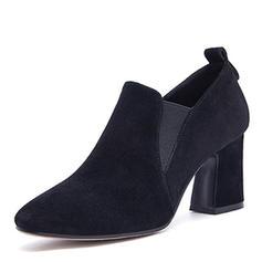 De mujer Ante Tacón ancho Salón Cerrados con Banda elástica zapatos