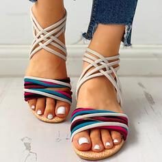 Kvinnor Mocka Flat Heel Sandaler Platta Skor / Fritidsskor Peep Toe med Zipper skor