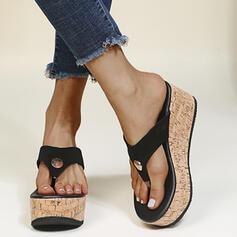 Kvinner PU Kile Hæl Sandaler Flip-Flopper Tøfler Round Toe med Rivet Delt Bindeled sko