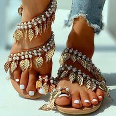 Kvinnor PU Flat Heel Sandaler Peep Toe med Oäkta Pearl skor