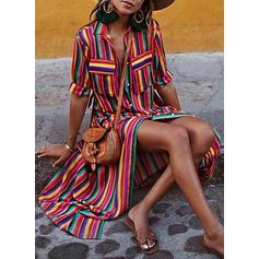 Rayado Mangas 1/2 Tendencia Camisa Casual/Vacaciones Maxi Vestidos