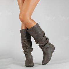 Mulheres PU Salto baixo Botas na panturrilha com Ruched sapatos