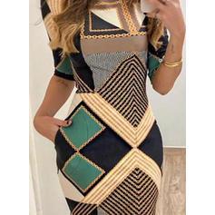 Geometric Print 1/2 Sleeves Bodycon Above Knee Casual Dresses