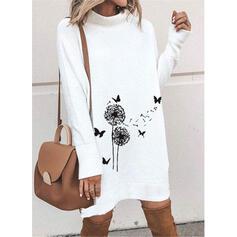 Animal Print Long Sleeves Shift Knee Length Casual Tunic Dresses