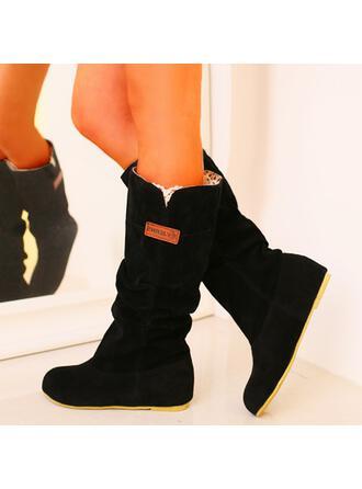 Bayanlar PU Düşük Topuk bot ayakkabı Kar botları Yuvarlak ayak Ile Katı Renk ayakkabı