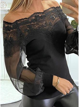 Jednolity Koronka Dekolt typu carmen Rękaw latarnia Długie rękawy Elegancki Bluzki