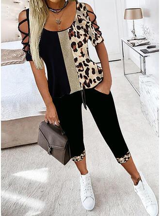 Leopard Color Block Extra stor storlek Sexig blus & Tvådelade kläder uppsättning