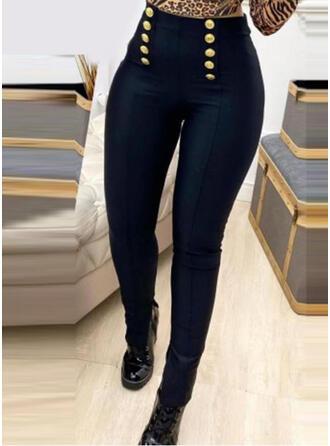 Solid Uzun gündelik Nostaljik Büyük beden Buton Pantolonlar