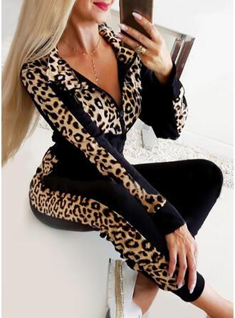 Solid Leopard Avslappet Sportslig Drakter