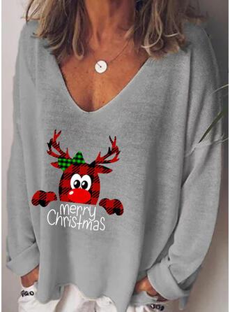 Animal Print Figure V-Neck Long Sleeves Casual Christmas T-shirts