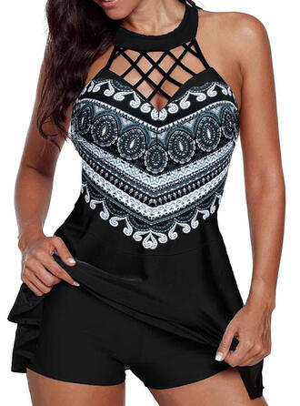 Print Hollow Out Round Neck High Neck Sexy Beautiful Cute Swimdresses Swimsuits