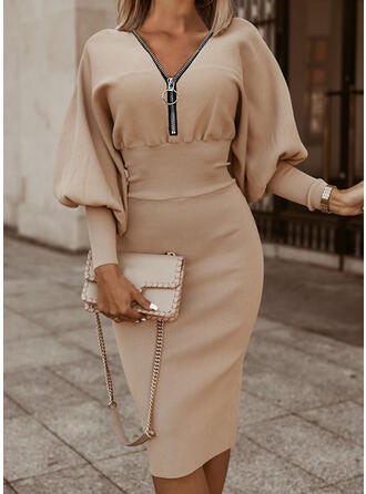 Solid Long Sleeves/Lantern Sleeve Bodycon Knee Length Elegant Pencil Dresses