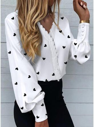Print Spets Hjärta V-ringning Långa ärmar Knäpp upp Elegant Skjorta Blusar