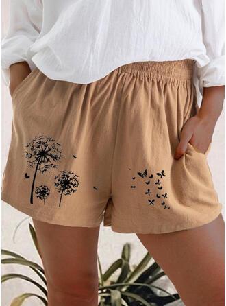 Trykk Pluss størrelse Avslappet Trykk Shorts