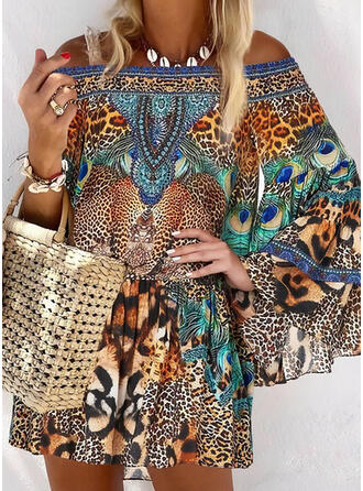 Print/Leopard Long Sleeves/Flare Sleeves Shift Above Knee Casual/Boho/Vacation Dresses