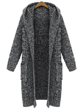 Combinação de algodão Manga comprida Cor sólida Casacos De Lã