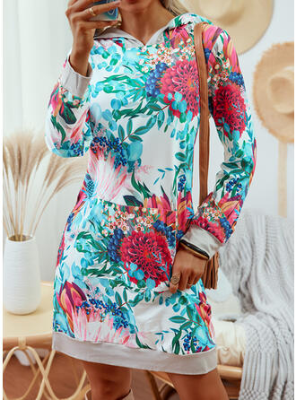 Imprimeu/Floral Mâneci Lungi Shift Elbiseleri Deasupra Genunchiului gündelik Tunică Elbiseler