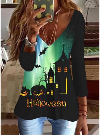 Halloween Imprimé Letter Faune Col V Manches 3/4 T-shirts