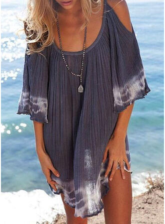 Print 3/4 Sleeves/Cold Shoulder Sleeve Shift Above Knee Casual/Vacation Dresses