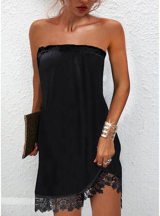 Solid Lace Sleeveless Shift Above Knee Little Black/Party Dresses