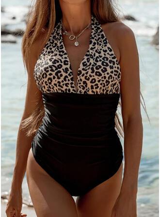"""Leopard Barva spoje Ke krku Výstřih do """"V"""" Sexy Jednodílné Costume de baie"""
