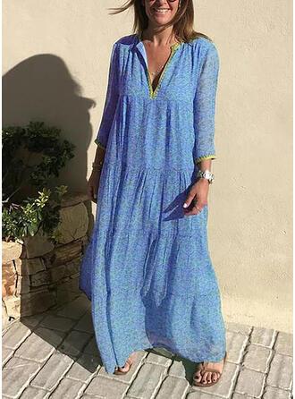 Print 3/4 Sleeves Shift Casual/Boho/Vacation Maxi Dresses