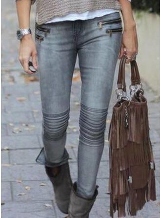 Pockets Shirred Plus Size Sexy Skinny Denim & Jeans
