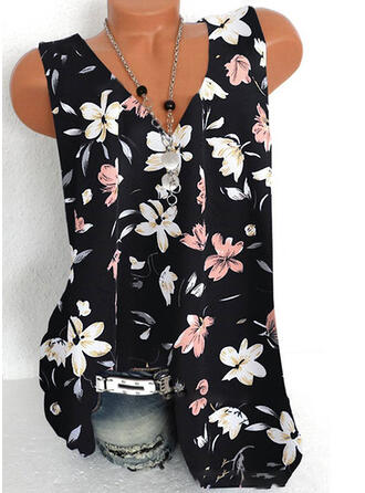Print Floral Lace V-Neck Sleeveless Casual Tank Tops