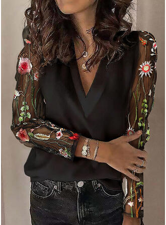 Floral Lace V-Neck Long Sleeves Casual Blouses