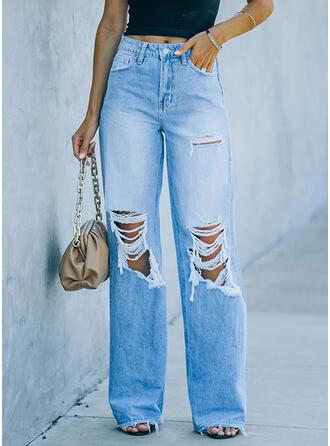 Solid kot Uzun gündelik Pocket Yırtık Kot pantolon