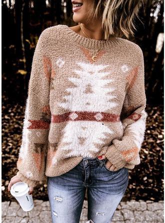 Impresión Cuello Redondo Casuales Navidad Suéteres